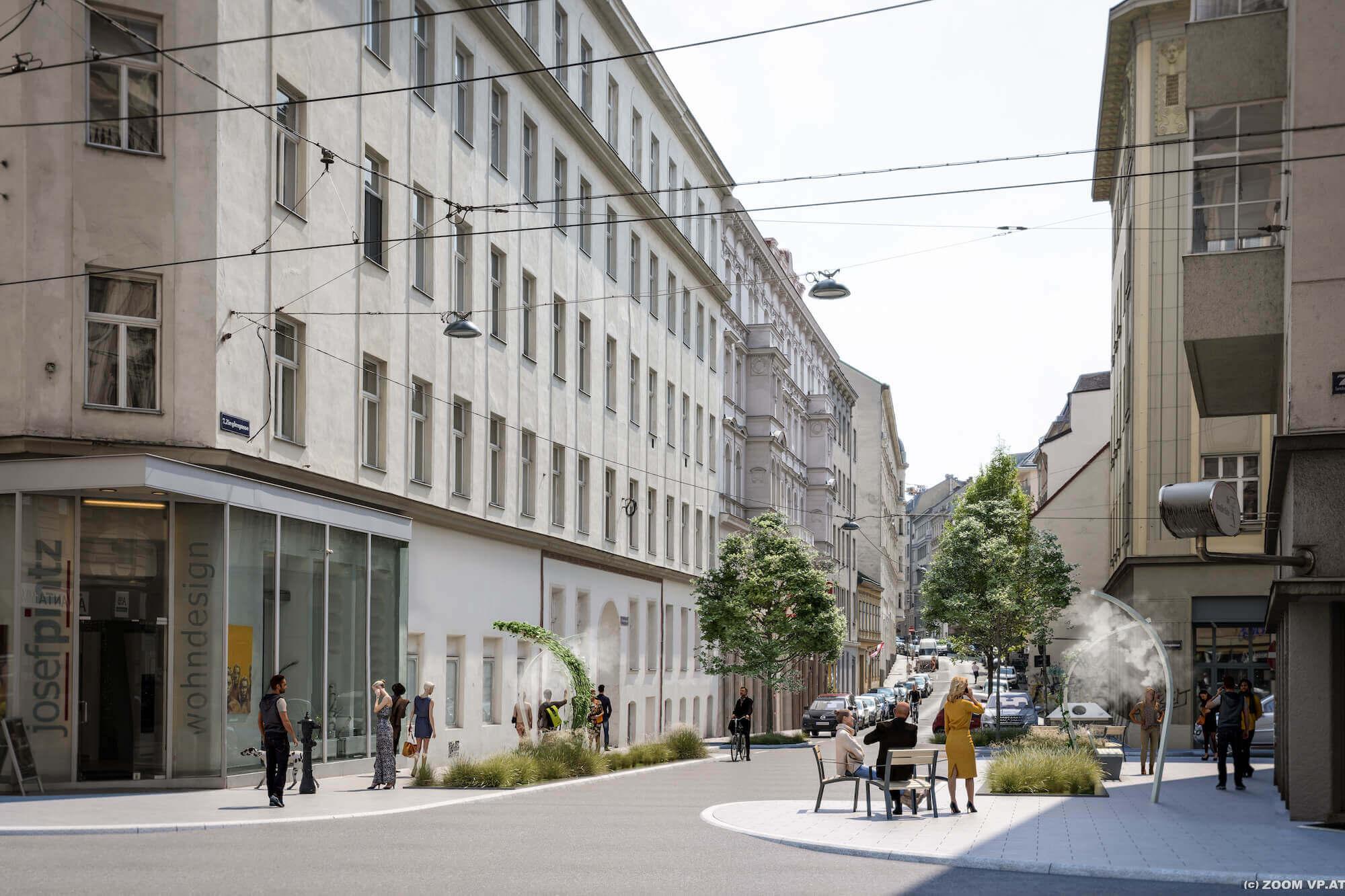 Wiens erste klimaangepasste Straße: Mit gezielten Umbaumaßnahmen sollen Hitzetage in der Zieglergasse erträglicher gemacht werden.