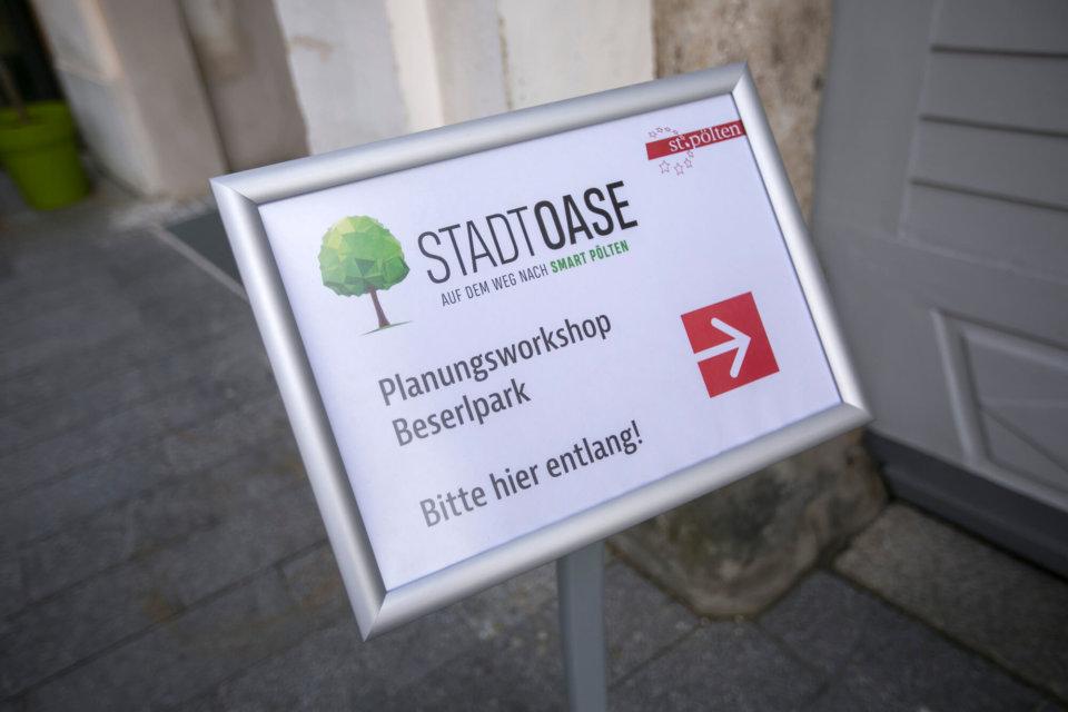 Einladung zum Workshop: Im St. Pöltener Rathaus werden die zuvor beim Stadtspaziergang gesammelten Ideen konkretisiert.