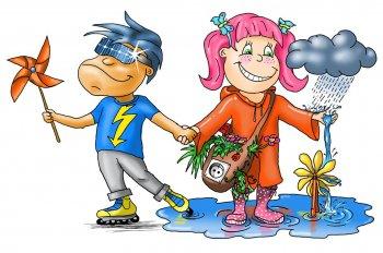 Mädchen und Junge mit Windrad, Regenwolke und Pflanzen